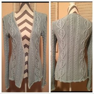 Open front and Knitted Blue Cardigan